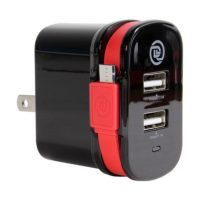 ChargeIt! 3.4amp Dual USB Wall Charger w/attach MicroUSB Cbl