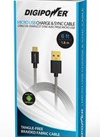 Digipower Charge & Sync Cable Tangle Free Micro USB 6ft