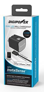 Digipower Wall Charger 3.4amp InstaSense 2Port Lightg