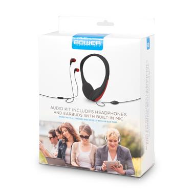 Bower Wired Headphone & Earbud w/Inline Mic Black