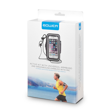 Bower Active Kit Armband and Earbud w/Mic Black