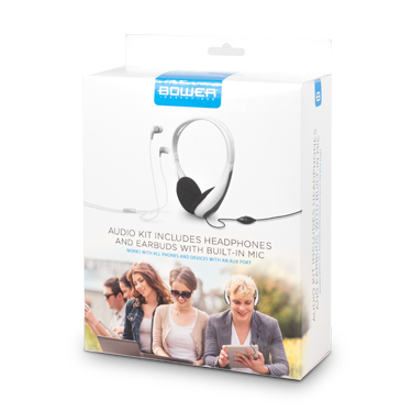 Bower 2-Pack Wired Headphone & Earbuds w/Inline Mic White