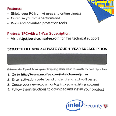Mcafee Antivirus Plus OEM 1-User 1-Year Hangcard