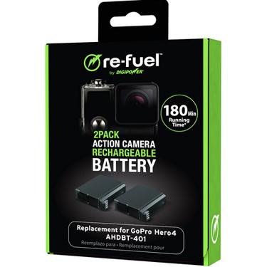 ReFuel GoPro Hero4 2Pk Battery Replacement AHDBT-401 w/11