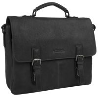 Kenneth Cole Double Gusset Flapover 15in Leather Folio