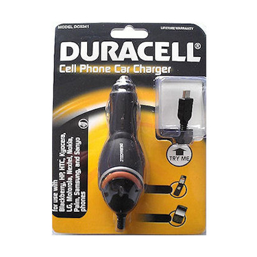 Duracell Car Charger w/ attach Micro USB Cable Black