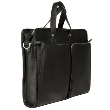 Kenneth Cole Single Gusset Top Zip Laptop Bag Leather