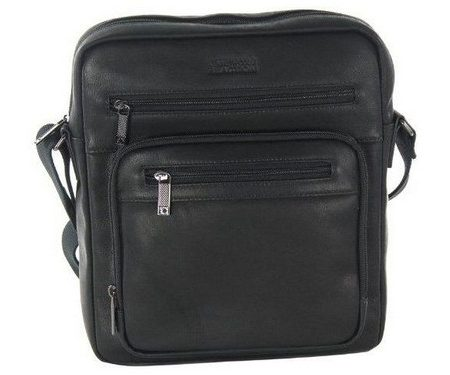 Kenneth Cole Columbian Leather Top Zip Tablet Case Black