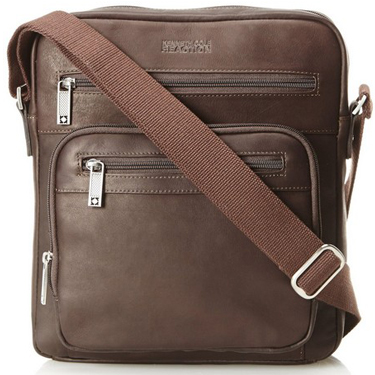 Kenneth Cole Columbian Leather Top Zip Tablet Case Brown