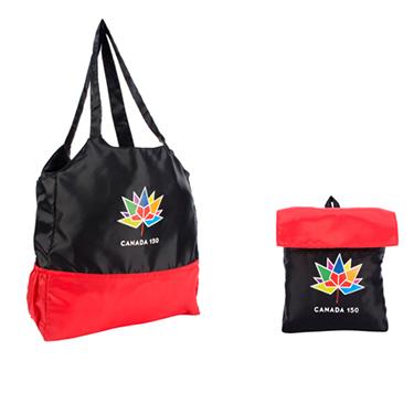 Canada 150 Foldable Tote Black/Red Nylon