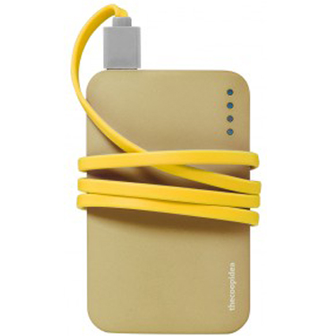 Gummy 9000 MaH 2.4A Power Bank Gold w/Micro Cable Yellow