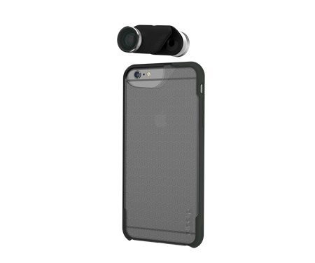 Olloclip iPhone 6+/6S+ 4-in-1 w/Silver Lens w/case Clear/DGr