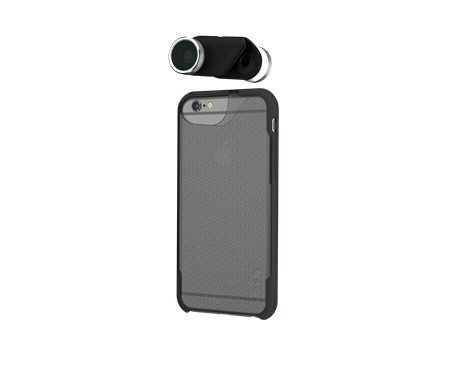 Olloclip iPhone 6/6S 4-in-1 w/Silver Lens w/case Clear/DGr