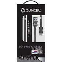 Quikcell Charge & Sync Micro USB-C 3.1 10 Ft Cable Gray