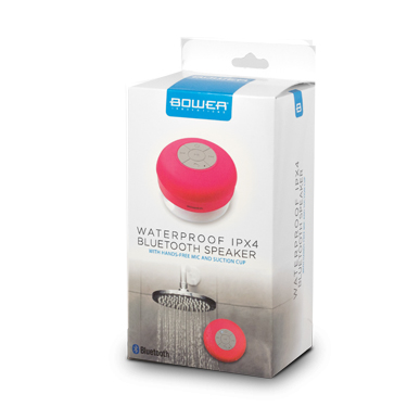 Bower Bluetooth Shower Speaker IPX4 Water Resistant Pink