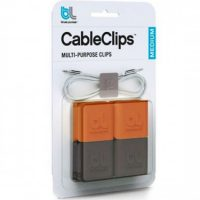 BlueLounge Cable Clips Medium 4Pk (2 Orange/ 2 Gray)