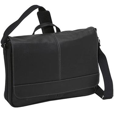 Kenneth Cole Columbian Leather Flapover 15in Messenger Black