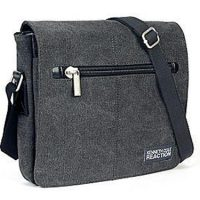 Kenneth Cole Flapover Tablet Day Bag Canvas Charcoal Grey