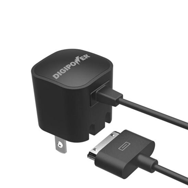 Digipower Wall Charger 1amp w/attached 30-Pin cable black