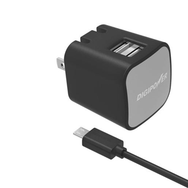Digipower Wall Charger 2.4amp InstaSense 2 Port w/5ft Micro