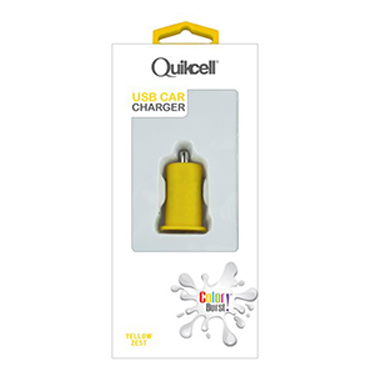 Colour Burst Car Charger 1Amp 1 USB Port Yellow