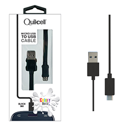 Colour Burst Charge & Sync Micro USB Cable Black