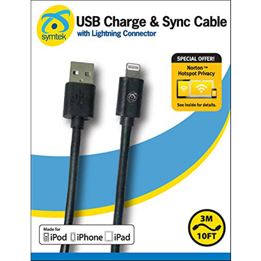 Symtek Charge & Sync Cable Apple Lightning MFI 10ft Black