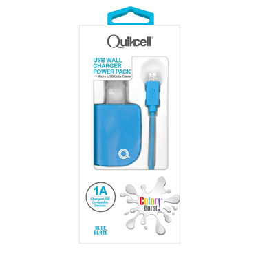 Colour Burst Wall Charger 1 Amp w/Micro USB Cable Blue