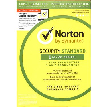 Norton Security Standard 1-User 1Yr BIL w/Mobile Secure