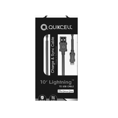 Quikcell Charge & Sync Lightning MFI 10 Ft Gray