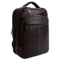 Kenneth Cole Backpack Leather Slim Double Gusset 16in Brown
