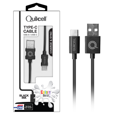 Colour Burst Charge & Sync Micro USB-C Cable Black
