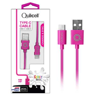 Colour Burst Charge & Sync Micro USB-C Cable Pink