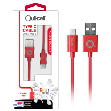 Colour Burst Charge & Sync Micro USB-C Cable Red