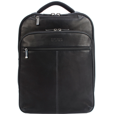 Kenneth Cole Backpack Leather Slim Double Gusset 16in Black