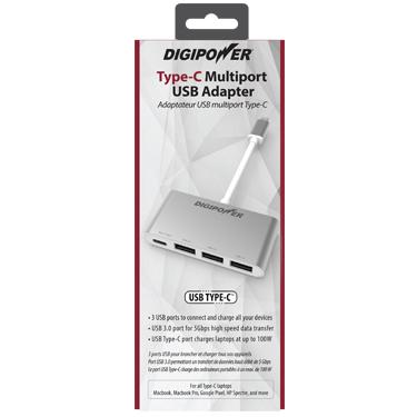 Digipower Type-C Hub w/3 USB Ports Multi-port Adapter