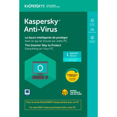Kaspersky Antivirus 2018 1-User OEM Tech Bench BIL