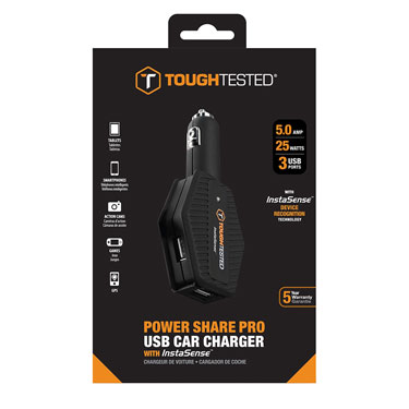 Tough Tested Car Charger 4.8amp InstaSense 3 Ports USB