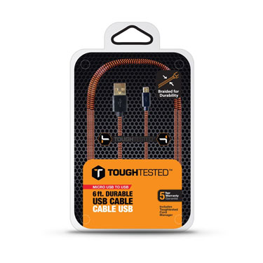Tough Tested Charge & Sync Braided Fabric Micro USB 6ft