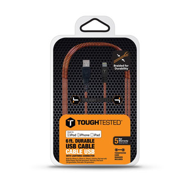 Tough Tested Charge & Sync Braided Fabric Lightning 6ft
