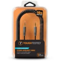 Tough Tested Auxillary 3.5mm Cable Durable Coiled 10ft