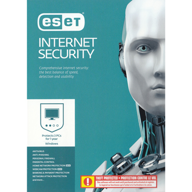 Eset Internet Security V10 3-User 1Yr BIL Pre-Activated
