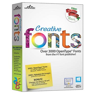 Summitsoft Creative Fonts w/ 3000 Open Type Fonts & 3D