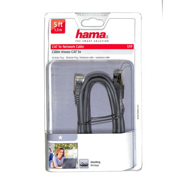 Hama CAT 5e Network Cable Grey 5ft