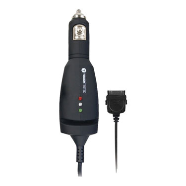 Tough Tested Car Charger 1amp w/12ft Coil Apple 30Pin Cable