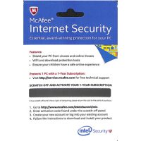 Mcafee Internet Security OEM 1-User 1-Year Hangcard