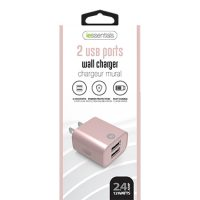 iEssentials Wall Charger 2.4amp 2 Port Rose Gold