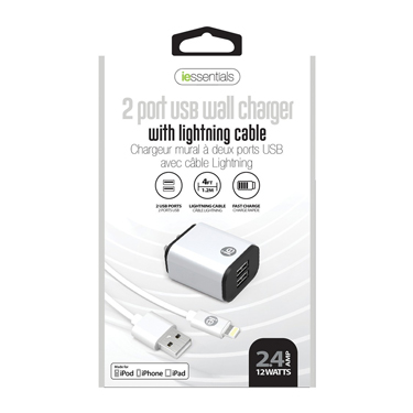 iEssentials Wall Charger 2.4Amp 2 Port w/4ft Lightning