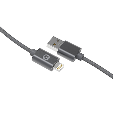iEssentials Charge & Sync Cable Lightning Braid 6ft Grey