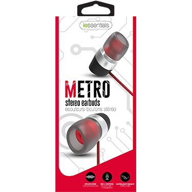 iEssentials Earbud Metro w/Mic Red